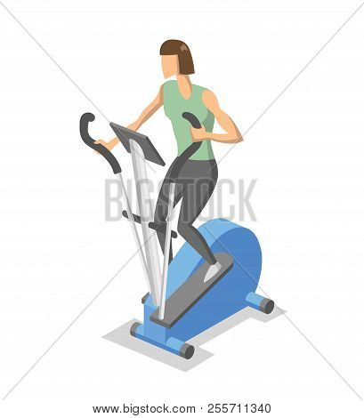 Woman working out on elliptical trainer in the gym. Colorful isometric illlustration of fitness equipment in action. Flat vector illustration. Isolated on white background. poster