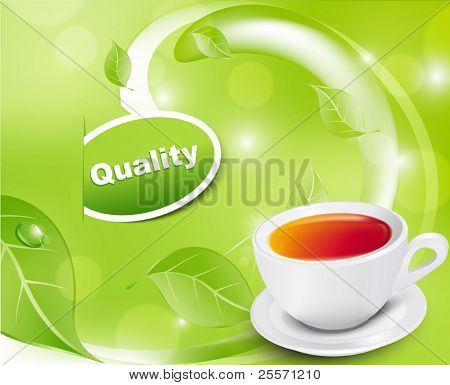 Vector white tea cup with the leaves on a green background