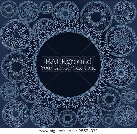 vector hand-drawn black abstract flowers background