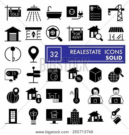 Realestate Glyph Icon Set, House Symbols Collection, Vector Sketches, Logo Illustrations, Rent Signs