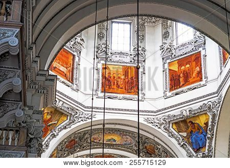 Salzburg, Austria- July 15, 2017: Interior Of Baroque Cathedral Of The Roman Catholic Archdiocese