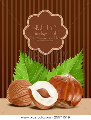 vector hazelnut kernels with the leaves on a brown, striped background