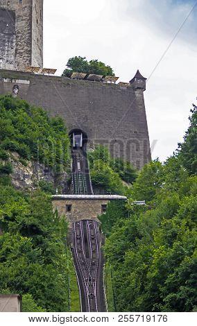 Funicular Railway To Hohensalzburg Castle (festung Hohensalzburg). Erected At Behest Of Prince - Arc