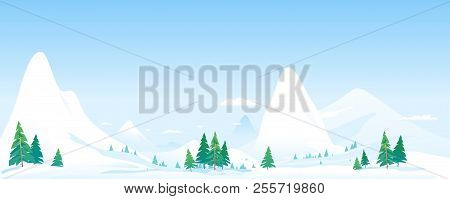 Winter Nature Landscape Panorama With Spruce-trees Near The Snowy Mountains, Beautiful Winter Day On