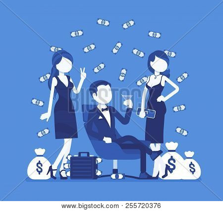 Rich Young Playboy. Wealthy Young Handsome Man Spends Time Enjoying Himself, Money And Sexual Relati