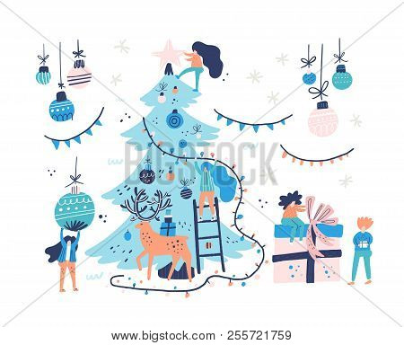 Group Of Little People Decorating Christmas Tree. Xmas Card Illustration. Vector Flat Design Of Peop