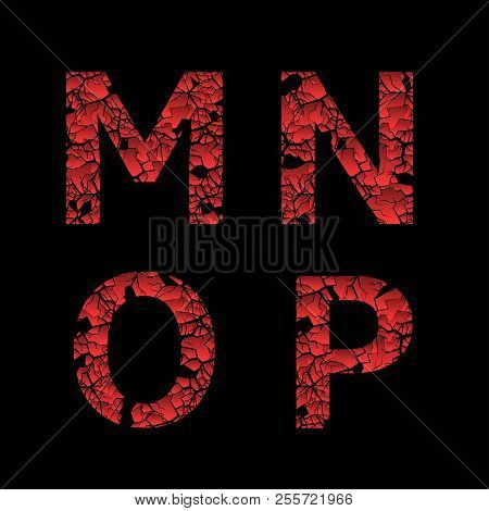 Broken Red M, N, O, P Letters Over Black Background. Vector Illustration