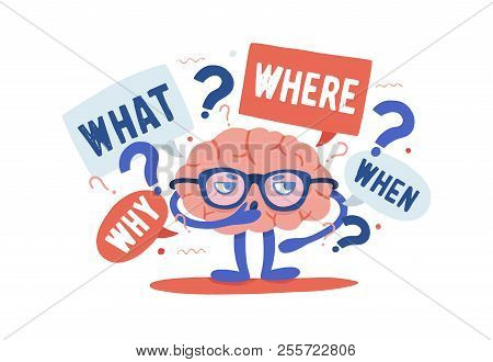 Adorable curious human brain with glasses solving riddles surrounded by questions and interrogation points. Cartoon character isolated on white background. Colorful vector illustration in flat style. poster