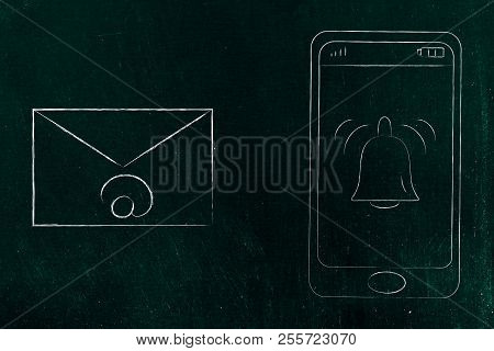 Push Notifications Settings And Marketing Conceptual Illustration: Ringing Notification Bell On Smar
