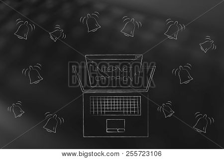 Push Notifications Settings And Marketing Conceptual Illustration: Laptop With Internet Campaign Pop