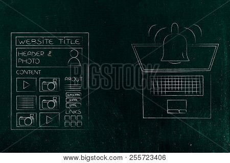 Push Notifications Settings And Marketing Conceptual Illustration: Website Page Next To Laptop With