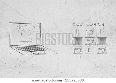 Push Notifications Settings And Marketing Conceptual Illustration: New Content Next To Laptop With N