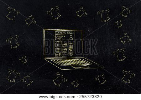 Push Notifications Settings And Marketing Conceptual Illustration: Website On Laptop Screen Surround