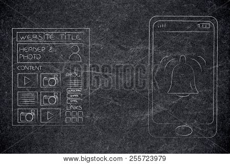 Push Notifications Settings And Marketing Conceptual Illustration: Website Next To Smartphone With N