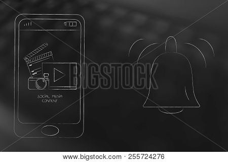 Push Notifications Settings And Marketing Conceptual Illustration: Social Media Content On Smartphon