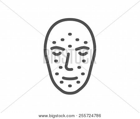 Face Biometrics Line Icon. Facial Recognition Sign. Head Scanning Symbol. Quality Design Element. Cl