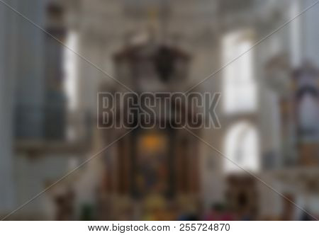 Indoor Blurred View Of Baroque Cathedral Of The Roman Catholic Archdiocese. Salzburg