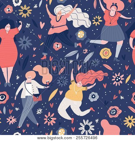 Seamless Pattern With Curvy Woman. Background With Different Female Characters. Plus Size Models Vec