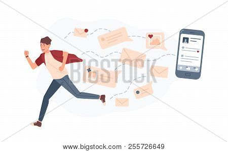 Young Man Running Away From Giant Smartphone And Text Messages Or E-mails Pursuing Him. Concept Of P