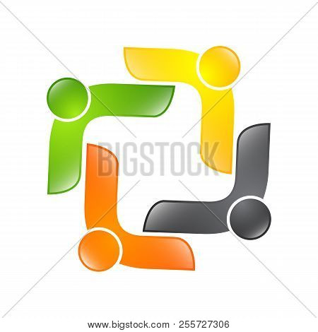 Abstract Vector Logo Depicting The Stylized People, Who Hold Hands And Are United In A Union, Human