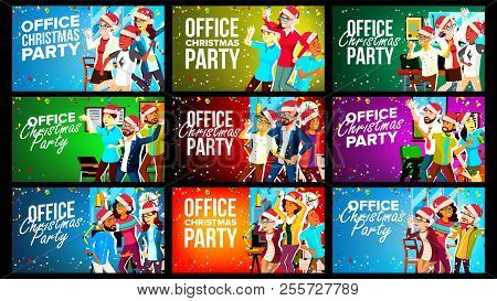Office Christmas Party Banner Set Vector. Celebrating. Merry Christmas And Happy New Year. Having Fu