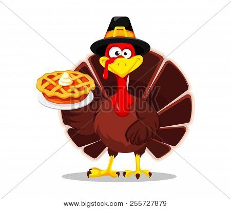 Happy Thanksgiving, Greeting Card, Poster Or Flyer For Holiday. Thanksgiving Turkey Holding Tasty Pi