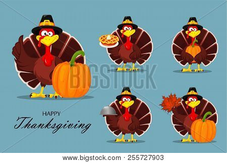 Happy Thanksgiving, Greeting Card, Poster Or Flyer For Holiday. Thanksgiving Turkey, Set. Vector Ill
