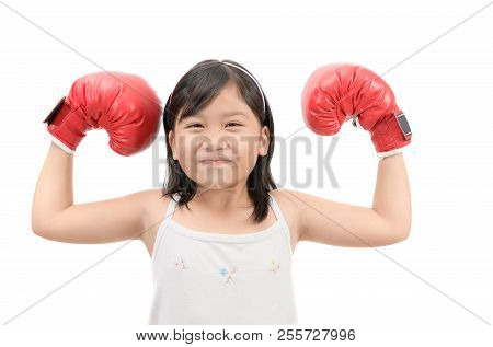 Happy Kid Boxing Show Muscle Isolated