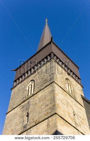 Tower Of The St. Lamberti Church In The Historic Center Of Hildesheim, Germany