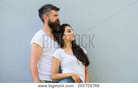 Couple Stylish Young Modern People. Urban Loving Couple. Couple White Shirts Lean Each Other. Couple