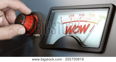 Man Turning A Knob To Improve Marketing Campaign And The Wow Factor. Composite Image Between A Hand