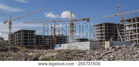 Buildings Under Construction. Kazakhstan (ust-kamenogorsk). Residential Buildings. Construction Cran