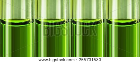 Green Liquid Chemical Weapon In Glass Tubes.