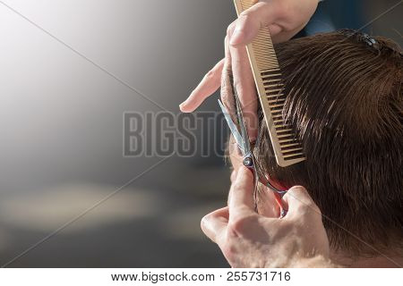 Hairdresser Cutting Hair Of Customer At Salon.