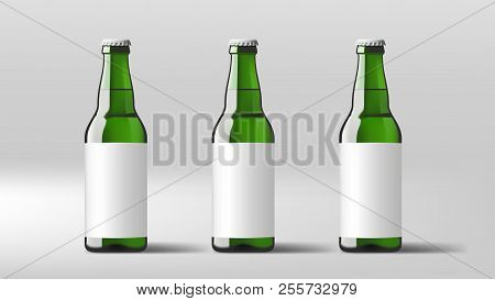 Realistic Clear Beer Bottles With White Label