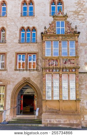 Hildesheim, Germany - October 15, 2017: Entrance To The Historic Tempelhaus Building In Hildesheim,