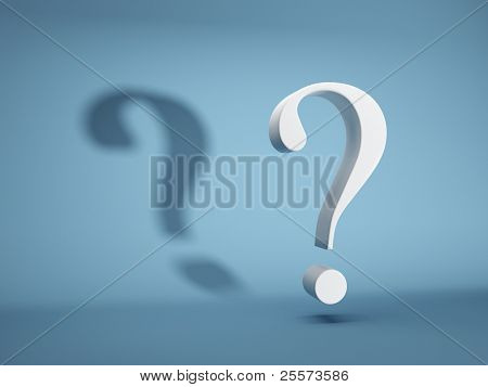 poster of Question mark with shadow on blue background