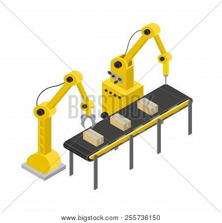 Box production line and tools for creating items, automated tools process with equipments accuracy, vector illustration isolated on white background poster