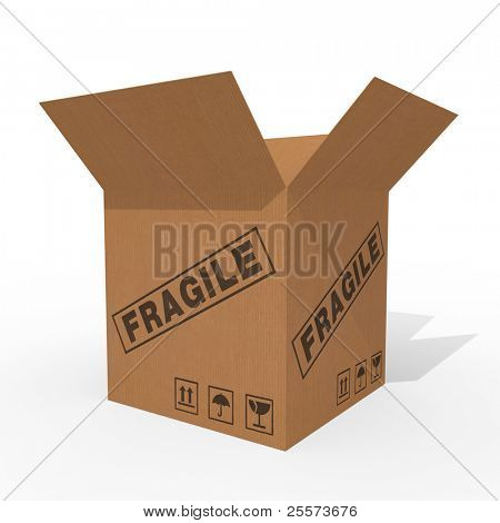 Open cardboard box isolated on white background poster