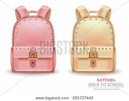 Satchel Bags With Pearls Vector Realistic. Back To School Concept. 3d Detailed Illustrations