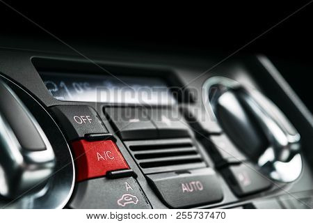 Air Conditioning Button Inside A Car. Climate Control Ac Unit In The New Car. Modern Car Interior De