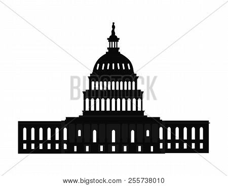 Washington Capitol With Tall Columns Black Monochrome Silhouette Isolated. Old World Famous Architec