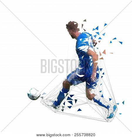 Football Player In Blue Jersey Pasing Ball, Abstract Low Poly Vector Drawing. Soccer Player Kicking