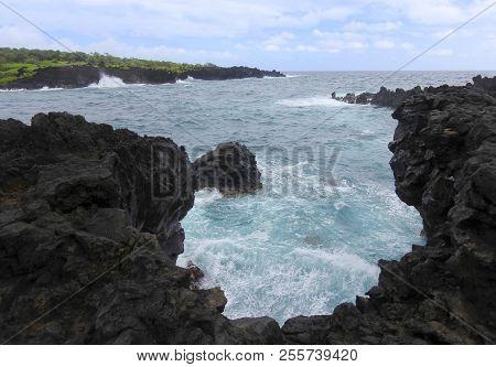 A View Of Churning Waves, Waianapanapa State Park, Maui, Hawaii