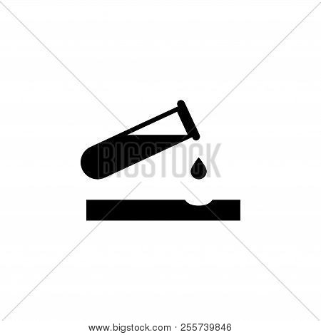 Caustic Chemicals Danger, Dripping Acid. Flat Vector Icon Illustration. Simple Black Symbol On White