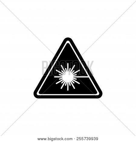 Beware Laser Beam, Warning Radiation Ray. Flat Vector Icon Illustration. Simple Black Symbol On Whit