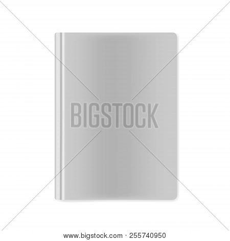 Closed Hardcover Book Top View, Vector Mock-up. Hard Cover Notebook Isolated On White Background, Te