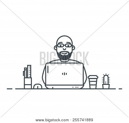 Workspace Of Wordpress Web Designer Or Programmer With Laptop. Flat Style Linear Vector. Laptop With