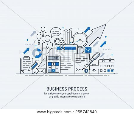 Flat Line-art Illustration Of Business Process, Market Research, Analysis, Planning, Business Manage