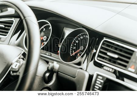 Close Up Modern Vehicle Dashboard Interior Speedometer